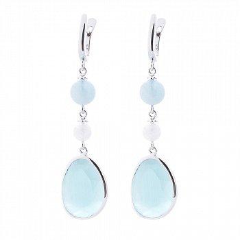 Серебряные серьги-подвески с завальцованными голубыми улекситами и агатами 000093844