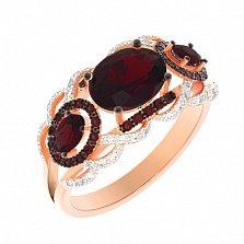 Золотое кольцо Элизиум с гранатами и фианитами