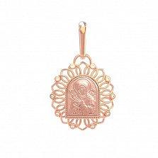Золотая ладанка Богородица Семистрельная в ажурном обрамлении с фианитами