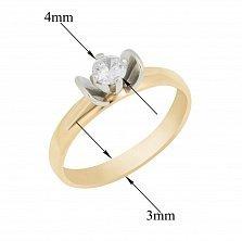 Золотое помолвочное кольцо Лилия в комбинированном цвете с белым фианитом