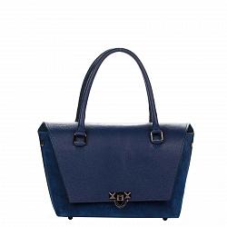 Кожаная деловая сумка Genuine Leather 8884 синего цвета с клапаном на металлическом замке с цепочкой
