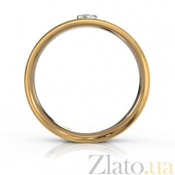 Золотое обручальное кольцо Теруэль в комбинированном цвете с бриллиантом и белой эмалью VLA--15760