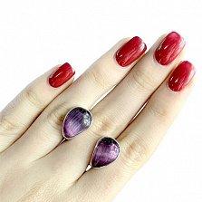 Серебряные серьги Фирусит с фиолетовым кошачьим глазом