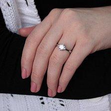 Серебряное кольцо Лучшие пожелания с белым фианитом и кастами разной формы