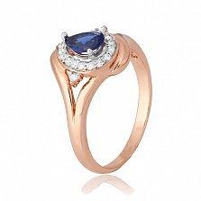 Серебряное кольцо Кристабель с позолотой, синим и белым цирконием