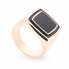 Перстень-печатка из красного золота Гектор с черным ониксом и черными фианитами