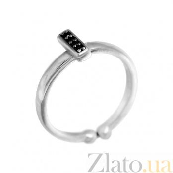 Серебряное кольцо Беата с черными фианитами 000081620