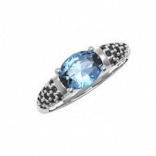 Серебряное кольцо Гретхен с кварцем под лондон топаз и фианитами