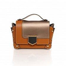 Кожаный клатч Genuine Leather 1620 коньячного цвета с бронзовыми вставками и механическим замком