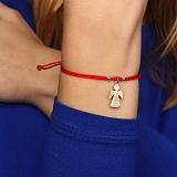 Шелковый браслет Пусть твой ангел тебя бережет с серебряной фигурной вставкой