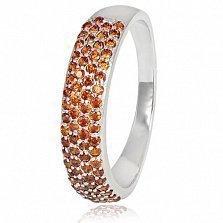 Серебряное кольцо Жазира с красным цирконием