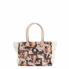 Кожаная сумка на каждый день Genuine Leather 8007 микс с белыми вставками, на молнии