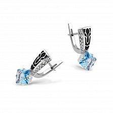 Серебряные серьги Лучиана с синим и белыми фианитами, черной эмалью