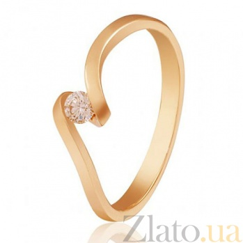 Золотое кольцо с бриллиантом Капля росы EDM--КД7482