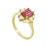 Серебряное кольцо с рубином и фианитами Анжелин