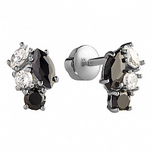 Серебряные пуссеты Лули с черными и белыми фианитами