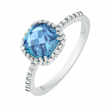 Кольцо в белом золоте Анна с голубым топазом и фианитами