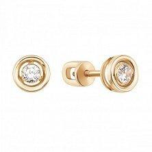 Золотые серьги-пуссеты Внутренний круг с завальцованным цирконием