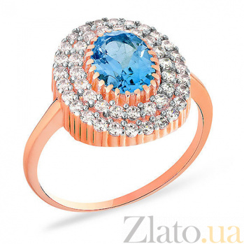 Золотое кольцо с топазом и фианитами Далида SUF--140461Пг