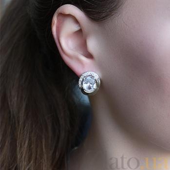 Серебряные серьги с золотыми вставками и цирконием Ягуар BGS--16/1с