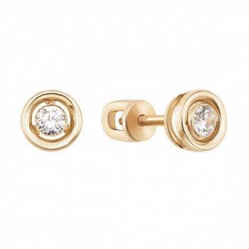 Золотые серьги-пуссеты с завальцованным цирконием 000071544