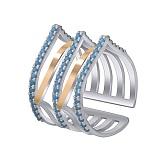 Серебряное кольцо Архитектура с золотыми накладками и фианитами под бирюзу