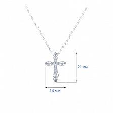 Серебряный крест с цирконами на цепочке Яркий оберег