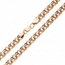 Золотая цепочка Исида в комбинированном цвете с алмазной гранью, 6мм