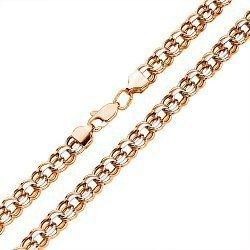 Золотая цепочка в комбинированном цвете с алмазной гранью 000117333, 6мм