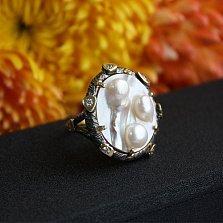Серебряное кольцо с мазерперлом и цирконием Ариель