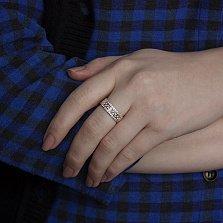 Золотое кольцо Лоретта с фианитами и эмалью