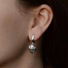 Серебряные серьги-подвески Совы с глазами-фианитами