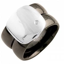 Кольцо из серебра и черной керамики Аурика с кристаллом циркония