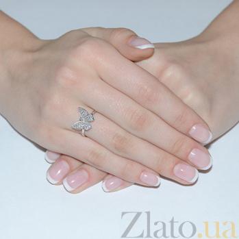 Кольцо в белом золоте Парящая бабочка с фианитами SVA--1190016102/Фианит/Цирконий