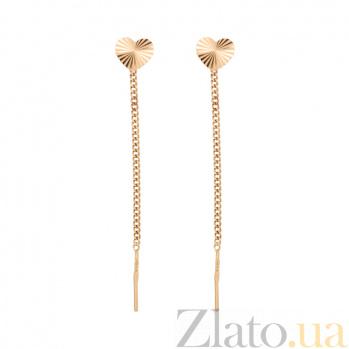 Золотые серьги-протяжки Сердечки с алмазной насечкой 000062093