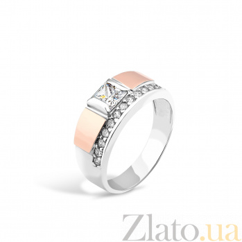 Серебряное родированное кольцо Тамила с золотой накладкой и фианитами 000097542