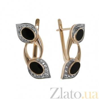 Золотые серьги с эмалью и фианитами Доказательство любви TNG--420644Е
