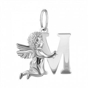 Срібний підвіс Янголятко з літерою М 000070093