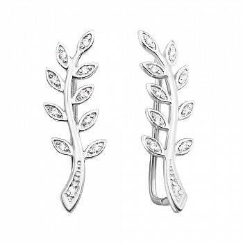 Срібні сережки-кафи з фіанітами 000145751