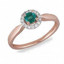 Кольцо из красного золота с изумрудом и бриллиантами Скарлетт