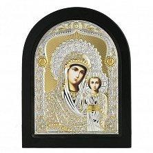 Икона на деревянной основе Богородица Казанская с позолотой и эмалью, 12х17