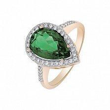 Кольцо в красном золоте Каролина с синтезированным зеленым кварцем и фианитами