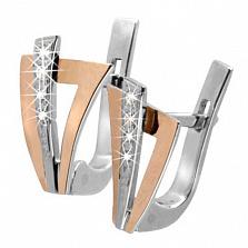 Серебряные серьги с цирконием и золотыми вставками Верона