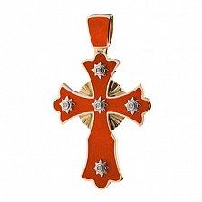 Золотой крестик с горячей эмалью и бриллиантами Солнце
