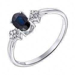 Серебряное кольцо Инга с сапфиром и фианитами