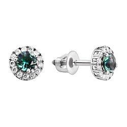 Серебряные серьги-пуссеты с зеленым кварцем и цирконием, 7мм 000008087