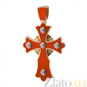 Золотой крестик с горячей эмалью и бриллиантами Солнце KBL--П146/комб/брил