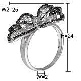 Кольцо Изящная бабочка из белого золота с бриллиантами
