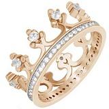 Позолоченное серебряное кольцо Монархия с фианитами