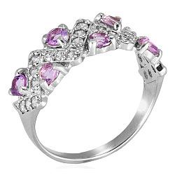 Серебряное кольцо с цирконием цвета аметист Классика
